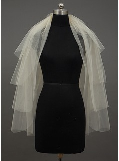Four-tier Fingertip Bridal Veils With Cut Edge (006034395)