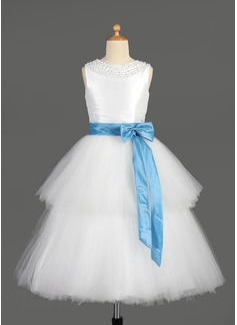 Vestidos princesa/ Formato A Comprimento médio Vestidos de Menina das Flores - Tafetá/Tule Sem magas Decote redondo com Cintos/Beading/Curvado (010014650)