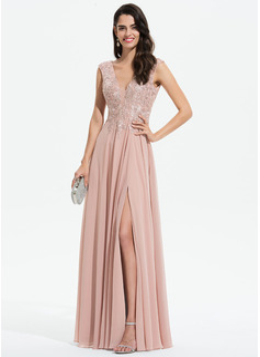 Corte A Decote V Longos Tecido de seda Vestido de festa com Renda Frente aberta (017196077)