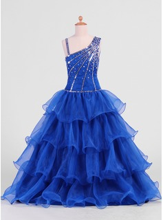 A-Line/Princess Floor-length Flower Girl Dress - Organza Sleeveless With Ruffles/Beading/Sequins (010007469)