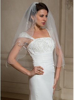 Two-tier Elbow Bridal Veils With Beaded Edge (006024466)