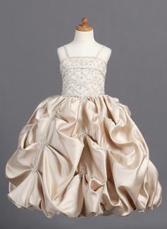 Duchesse-Linie Bodenlang Blumenmädchenkleid - Satin Ärmellos Correas de hombro mit Bestickt/Perlstickerei/Suchen Up Skirt (010007808)