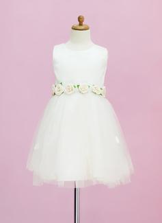 Vestidos princesa/ Formato A Comprimento médio Vestidos de Menina das Flores - Cetim/Tule Sem magas Decote redondo com fecho de correr (010005331)