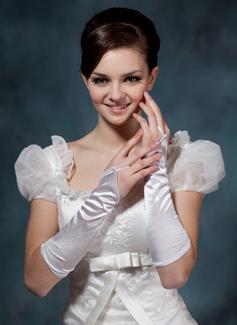 Упругие атласная локоть длина Свадебные перчатки (014020508)