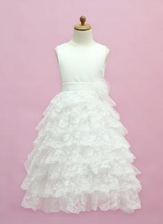 Vestidos princesa/ Formato A Longos Vestidos de Menina das Flores - Cetim/Renda Sem magas Decote redondo com Pregueado/Curvado (010005333)
