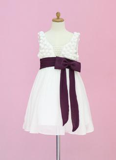 Vestidos princesa/ Formato A Comprimento médio Vestidos de Menina das Flores - Tecido de seda/Tule Sem magas Decote redondo com Cintos/Beading/Curvado (010005336)