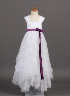 A-Lijn/Prinses Vloer lengte Bloemenmeisjesjurken - Tule/Charmeuse Mouwloos Vierkante Halslijn met Roes/Ceintuurs/Strik(ken) (010005782)
