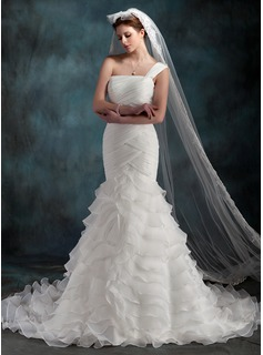 One-tier Cathedral Bridal Veils With Lace Applique Edge (006022606)