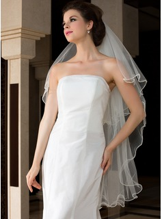 Two-tier Fingertip Bridal Veils With Scalloped Edge (006036610)
