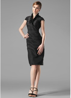 Sheath/Column V-neck Knee-Length Taffeta Holiday Dress With Ruffle (020003292)