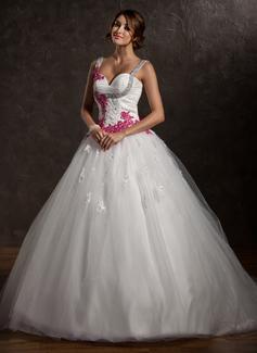 Платье для Балла В виде сердца Церковный шлейф Тюль Свадебные Платье с Рябь аппликации кружева Бант(ы) (002011413)