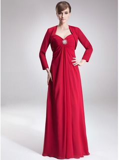 Empire Sweetheart Floor-Length Chiffon Mother of the Bride Dress With Ruffle Crystal Brooch (008002223)