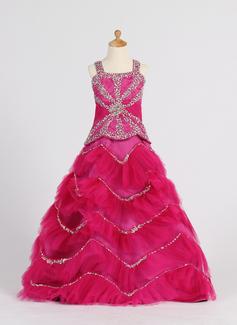 Ball Gown Floor-length Flower Girl Dress - Satin/Tulle Sleeveless Straps With Ruffles/Beading/Sequins (010007372)