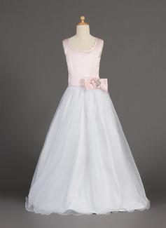 Vestidos princesa/ Formato A Longos Vestidos de Menina das Flores - Organza de/Cetim Sem magas Decote redondo com Beading/fecho de correr/Curvado (010002160)