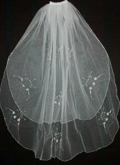 Due strati Velare da sposa gomito con Bordo smussato (006035470)