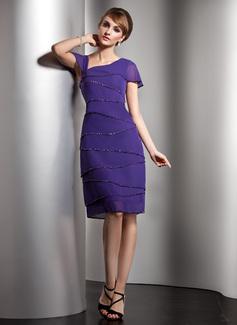 A-Linie/Princess-Linie V-Ausschnitt Knielang Chiffon Kleid für die Brautmutter mit Perlen verziert Pailletten (008006104)