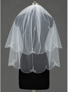 Two-tier Elbow Bridal Veils With Beaded Edge (006030995)