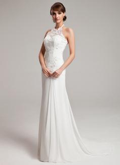 A-Line/Princess Halter Sweep Train Chiffon Tulle Wedding Dress With Ruffle Lace Beading (002011453)