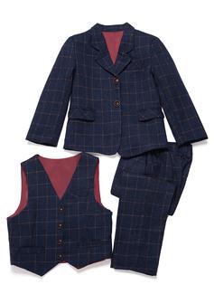 Rapazes 3 peças Xadrez Roupas de Pajem /Ternos Menino Página com Jaqueta Oeste calça (287199752)