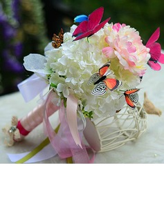 Beautiful Butterfly Hand-tied Satin/Organza Bridesmaid Bouquets - (124032057)