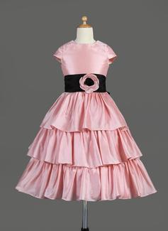 Vestidos princesa/ Formato A Comprimento médio Vestidos de Menina das Flores - Tafetá Sem magas Decote redondo com Pregueado/Cintos/fecho de correr/Curvado (010014645)