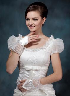 Aтласная Наручные длина Свадебные перчатки/Цветок перчатки девушки (014020507)