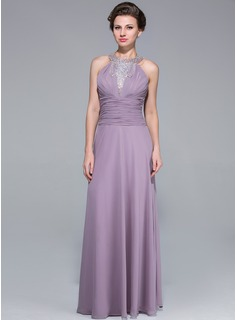 A-Line/Princess Scoop Neck Floor-Length Chiffon Mother of the Bride Dress With Ruffle Beading Cascading Ruffles (008025697)