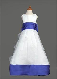 Império Longos Vestidos de Menina das Flores - Organza de/Cetim Sem magas Decote redondo com Cintos/Curvado (010007468)