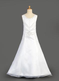 Vestidos princesa/ Formato A Longos Vestidos de Menina das Flores - Organza de/Cetim Sem magas Decote redondo com Beading/lantejoulas (010014647)
