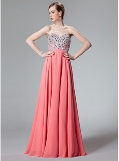 A-Line/Princess Sweetheart Floor-Length Chiffon Prom Dress With Beading Sequins (018012850)