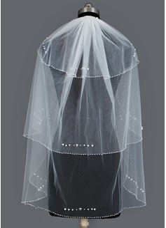 Drie-rij Vingertop Bruids Sluiers met Gerolde Rand (006034200)