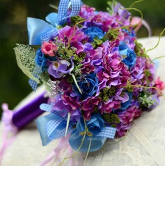 Colorful Round Satin Bridal Bouquets (124032036)