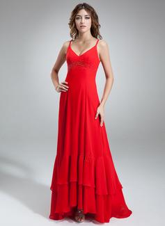 A-linjainen/Prinsessa V-kaula-aukko Epäsymmetrinen Sifonki Morsiusneitojen mekko jossa Helmikuvoinnit (007000912)