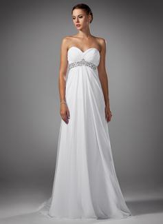 Império Coração Sweep/Brush trem De chiffon Vestido de noiva com Pregueado Bordado (002004156)