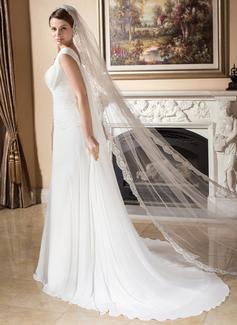 Een-rij Lace Stoffen Rand Kathedraal Bruids Sluiers met Van Toepassing (006024550)