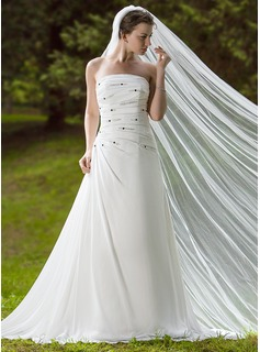 One-tier Cathedral Bridal Veils With Cut Edge (006024444)