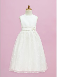 A-Line/Princess Floor-length Flower Girl Dress - Organza/Satin Sleeveless Scoop Neck With Flower(s)/Bow(s) (010005334)