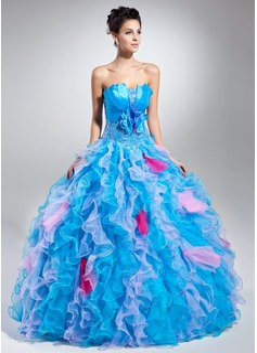 Corte de baile Escote ondulado Vestido Organdí Charmeuse Vestido de quinceañera con Bordado Flores Cascada de volantes (021015050)
