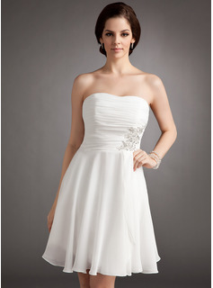 A-Line/Princess Strapless Knee-Length Chiffon Wedding Dress With Ruffle Lace Beading Sequins (002012118)