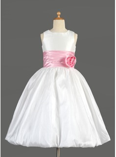 Empire Tea-length Flower Girl Dress - Taffeta/Charmeuse Sleeveless Scoop Neck With Sash/Flower(s)/Bow(s) (010014637)