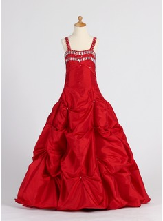 A-Line/Princess Floor-length Flower Girl Dress - Taffeta Sleeveless Sweetheart With Ruffles/Beading/Pick Up Skirt (010005901)