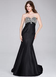 Trumpet/Mermaid Sweetheart Sweep Train Taffeta Prom Dress With Beading (018034502)