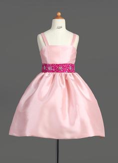 Vestidos princesa/ Formato A Coquetel Vestidos de Menina das Flores - Tafetá Sem magas alças de ombro com Cintos/Beading/lantejoulas (010007565)
