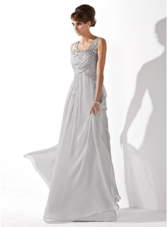 A-Line/Princess Scoop Neck Floor-Length Chiffon Prom Dresses With Ruffle Beading (018005096)