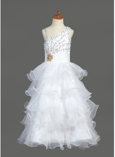 Vestidos princesa/ Formato A Longos Vestidos de Menina das Flores - Organza de/Cetim Sem magas Decote V com Pregueado/Beading/lantejoulas (010007368)