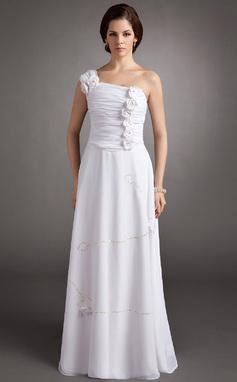 Vestidos princesa/ Formato A Um ombro Longos De chiffon Vestido de Férias com Pregueado Bordado fecho de correr Lantejoulas (020016341)