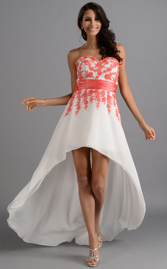 A-Line/Princess Sweetheart Asymmetrical Chiffon Charmeuse Prom Dress With Lace Sash (018046257)