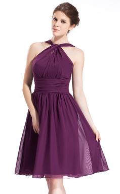 Vestidos princesa/ Formato A Cabresto Coquetel De chiffon Vestido de madrinha com Pregueado (007026277)