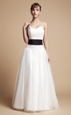 A-Line/Princess V-neck Floor-Length Tulle Lace Wedding Dress With Ruffle Sash Beading Bow(s) (002000131)