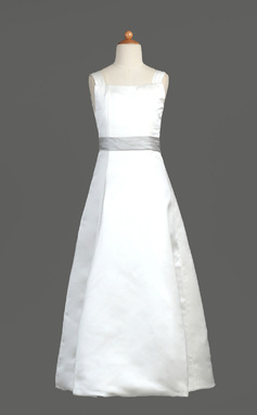 A-Line/Princess Floor-length Flower Girl Dress - Satin Sleeveless Square Neckline With Sash (010002183)